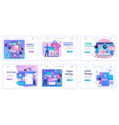 collection of landing pages process management vector image