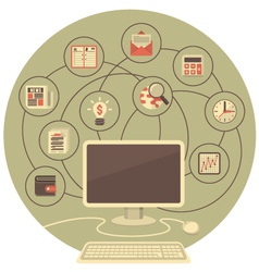 Computer as a Tool for Business in Gray Circle vector
