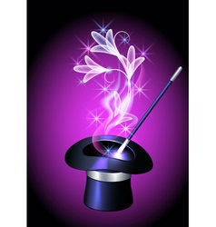Conjurer hat and flowers vector