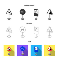 Different types of road signs flatoutline vector