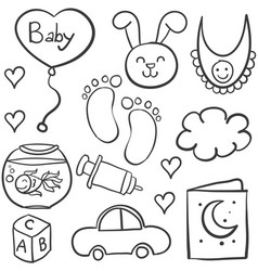 Doodle of babies element collection vector