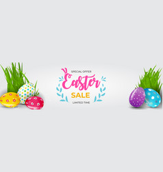 easter sale poster template with 3d realistic vector image