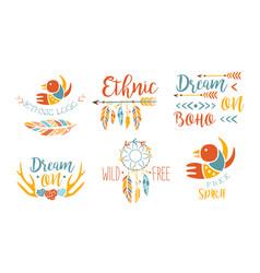 ethnic logo templates set free spirit hand drawn vector image