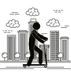 figure human in skateboard silhouette avatar vector image
