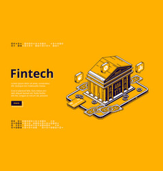 Fintech isometric landing page with bank building vector