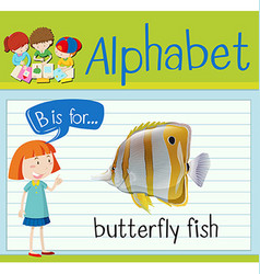 Flashcard letter b is for butterfly fish vector