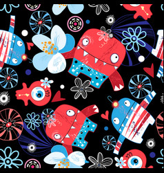 funny bright pattern monsters vector image