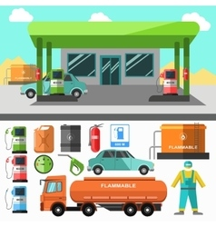 Gas station icons Refueling symbols vector