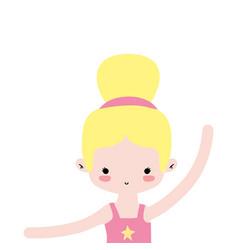 Girl practice ballet with bun hair design vector