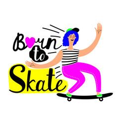 girl riding skateboard active hob vector image