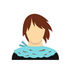 Girl with short hair icon flat style vector