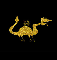 Golden dragon on black backgroundgold chinese vector
