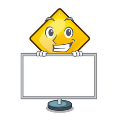 Grinning with board harm warning sign shaped on vector