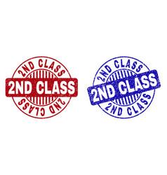 grunge 2nd class textured round stamp seals vector image