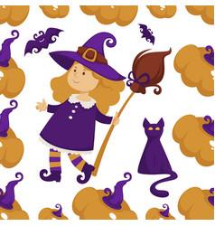 halloween holiday symbols of autumn event seamless vector image