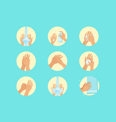 hands washing sequence instruction infographic vector image
