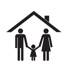 happy family under the roof of their house vector image