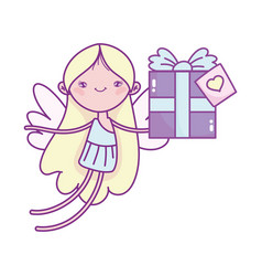 happy valentines day cute cupid with gift box vector image