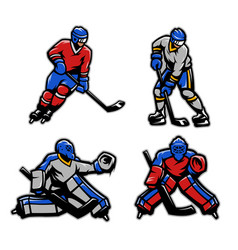 Hockey players and goalkeepers set vector