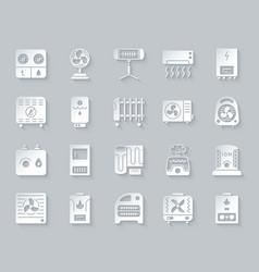 Hvac simple paper cut icons set vector