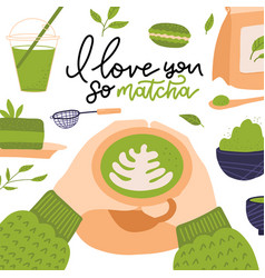 i love you so matcha - hand drawn lettering quote vector image