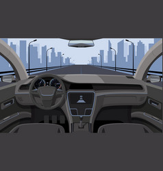 Inside car driver view with rudder dashboard vector