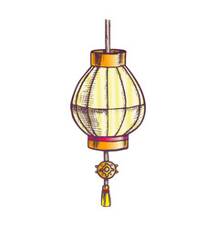 Japanese lantern festive ornament color retro vector