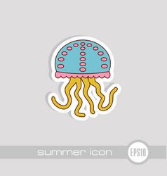 jellyfish icon summer vacation vector image
