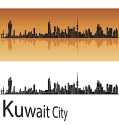 Kuwait City skyline in orange background vector