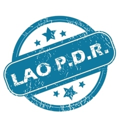 LAO PDR round stamp vector image