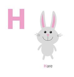 Letter h hare zoo alphabet english abc vector