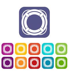 Lifebuoy icons set flat vector