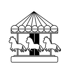 Line mechanical horse ride carnival game vector