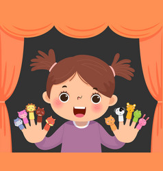 Little girl playing animal finger puppets vector