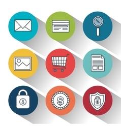 Lock security online shop data design vector