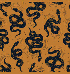 Magic seamless pattern with snake with vector