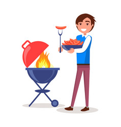 Man grilling sausages barbecue vector