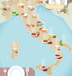map regional pasta in italy vector image