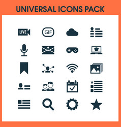 Media icons set with gear wireless connection vector