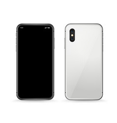 modern smartphone mockup front and back view vector image