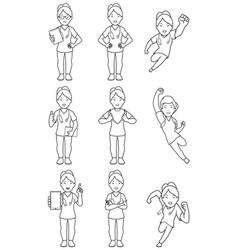 nurse asian female line art vector image