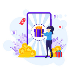 Online reward concpet a woman receive a gift box vector