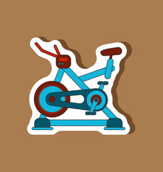 Paper sticker on stylish background bicycle vector