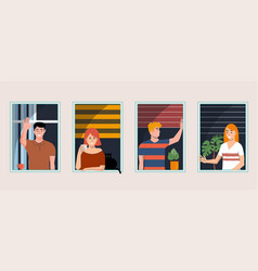 People at windows concept vector