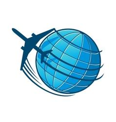 Plane flies around earth vector