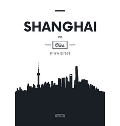 poster city skyline shanghai flat style vector image