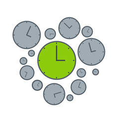 right time on green clock isolated vector image