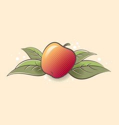 Ripe apple fruit and leaves vector