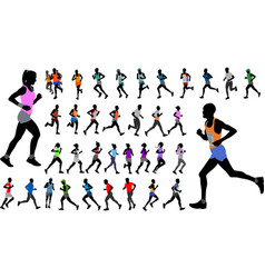 Runners in color sportswear silhouettes collection vector