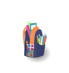 school backpack with notebooks and stationery vector image